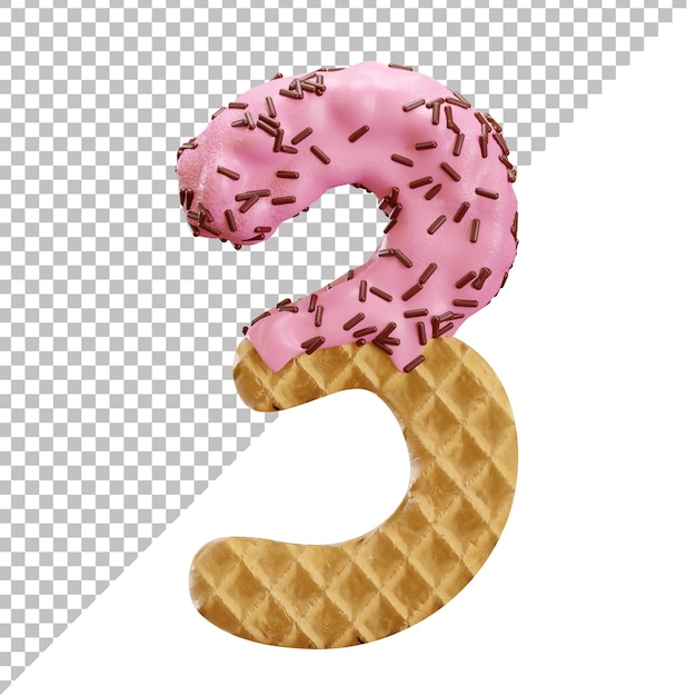 Number 3 made of ice cream waffle with chocolate sprinkles in 3d style Premium Psd