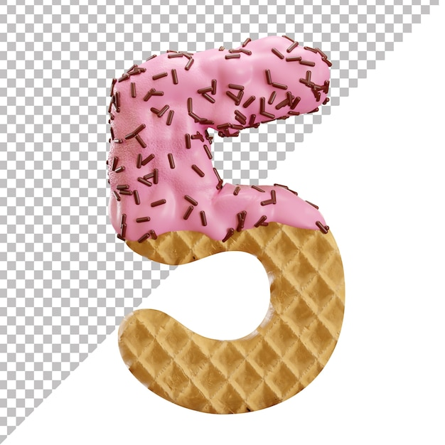 Number 5 made of ice cream waffle with chocolate sprinkles in 3d style Premium Psd