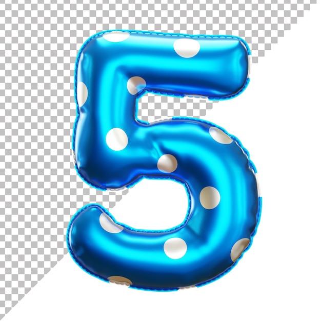 Number 5 polka dot party foil balloon in 3d style Premium Psd