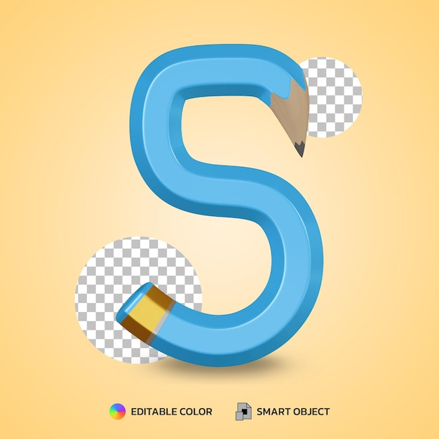 Number 5 text style of flexible pencil color isolated 3d rendering Premium Psd