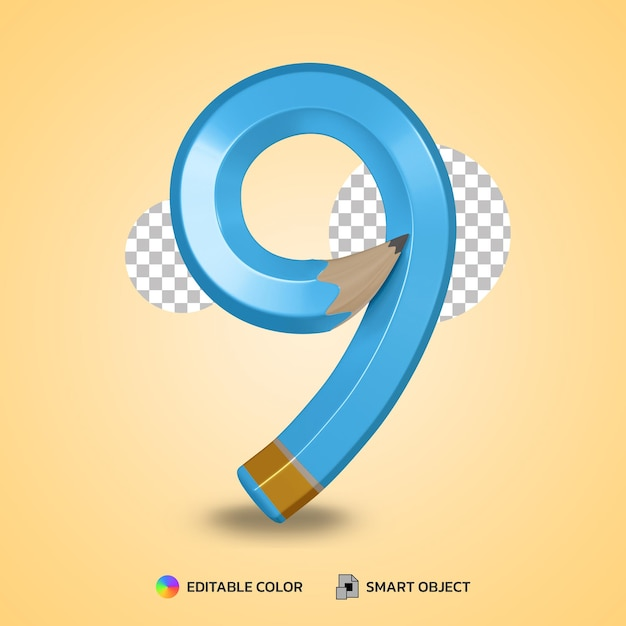 Number 8 text style of flexible pencil color isolated 3d rendering Premium Psd