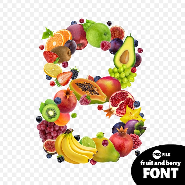 Number eight made with fruits Premium Psd
