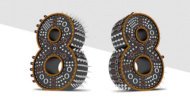 Number made of metallic gears Premium Psd