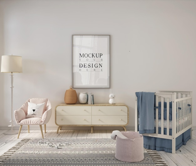 Детская комната с рамкой плаката дизайна макета Premium Psd