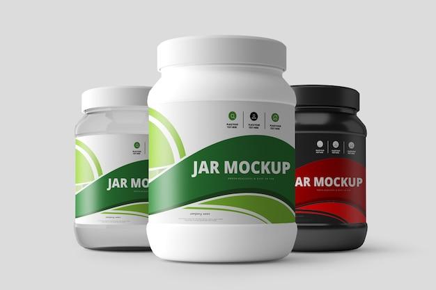 Nutrition supplement jar mockup Premium Psd