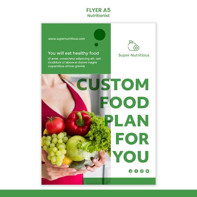 写真付き栄養士広告チラシテンプレート 無料 Psd