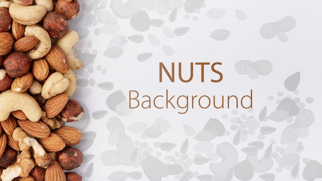 Nuts assortment mock-up background Free Psd