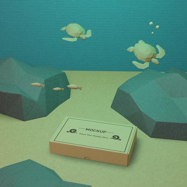 海の日の海の生活と水中の段ボール箱 無料 Psd