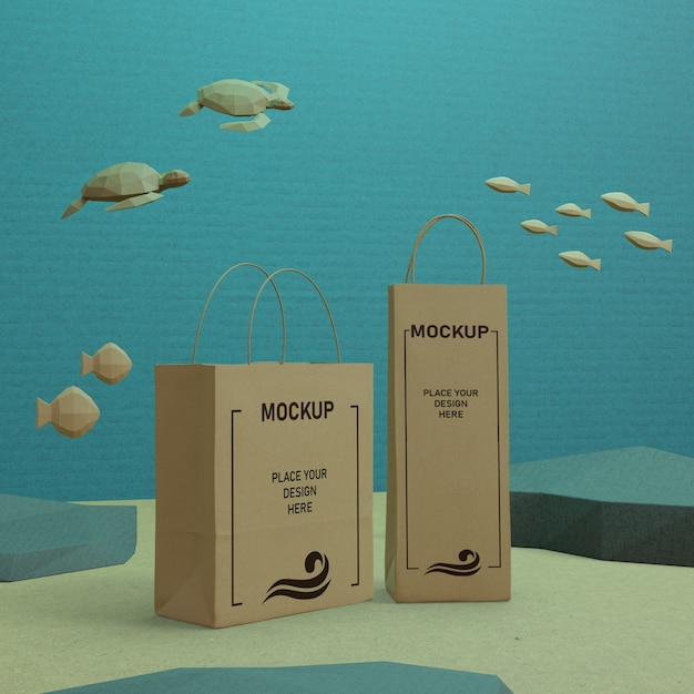 海の日の海の生活とモックアップで水中の紙袋 無料 Psd