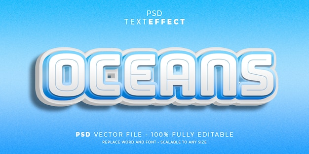 Океаны текст и эффект шрифта Premium Psd