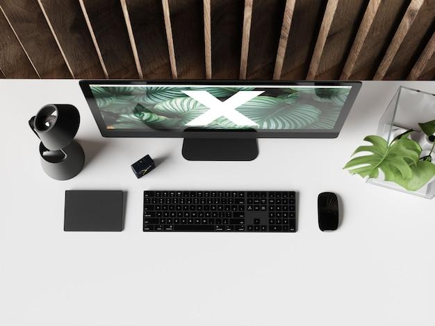 Office desk mockup Premium Psd