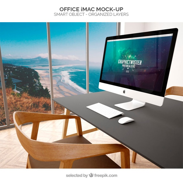 office imac mockup Free Psd