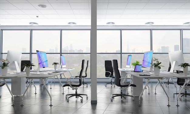 Офис с макетом различных рабочих столов Premium Psd