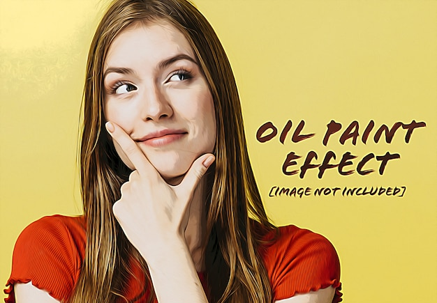 Oil paint photo effect mockup Premium Psd