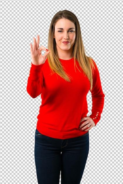 指でokのサインを示す若いブロンドの女性 Premium Psd