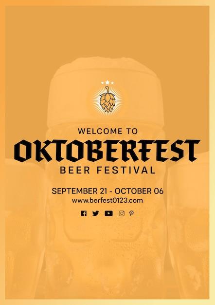 Шаблон фестиваля пива октоберфест Бесплатные Psd