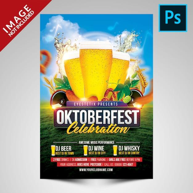 Шаблон флаера празднования октоберфеста Premium Psd