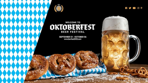 Oktoberfest drink and snacks on a table Free Psd