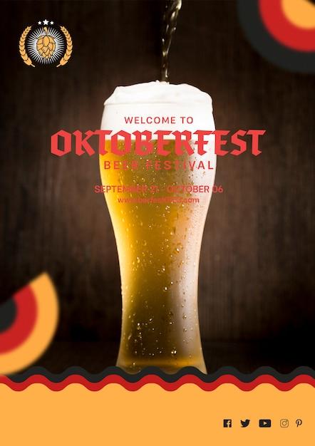 Октоберфест стакан пива с пеной Бесплатные Psd