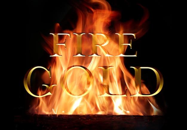 火の中で燃える古い金のテキスト効果 Premium Psd