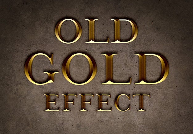 Old gold text effect template Premium Psd