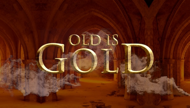 Old is gold text style effect Premium Psd