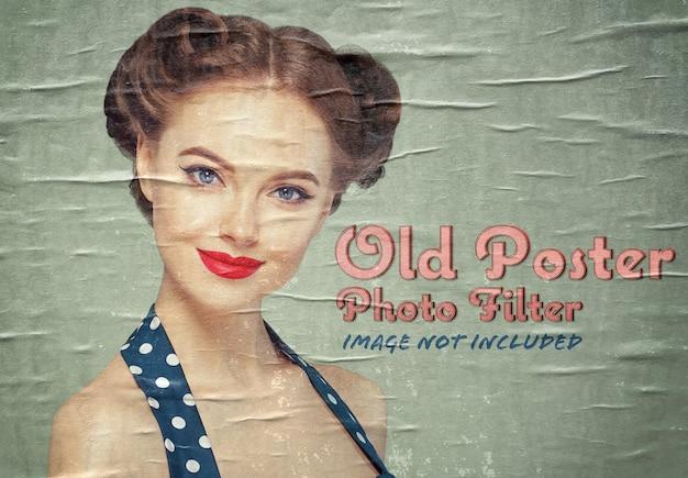 古いポスター写真効果モックアップ Premium Psd