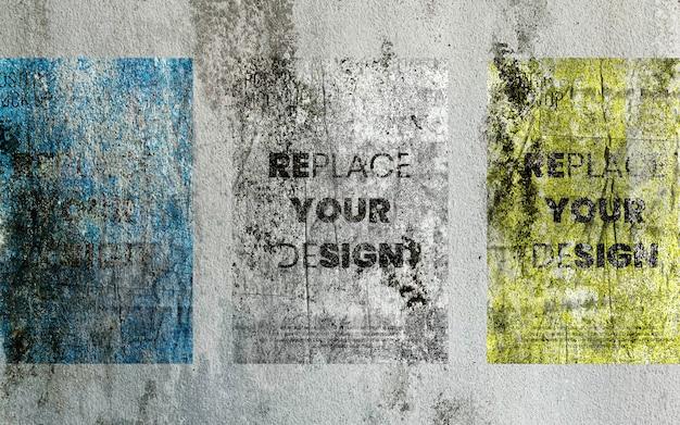 콘크리트 벽에 오래 된 포스터 이랑 프리미엄 PSD 파일