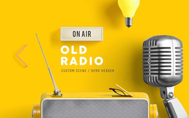 Old radio custom scene PSD file | Premium Download