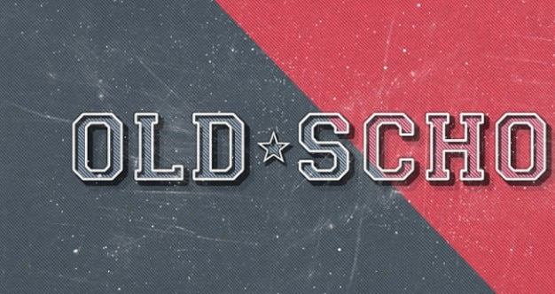 Old school retro text effect PSD file   Free Download