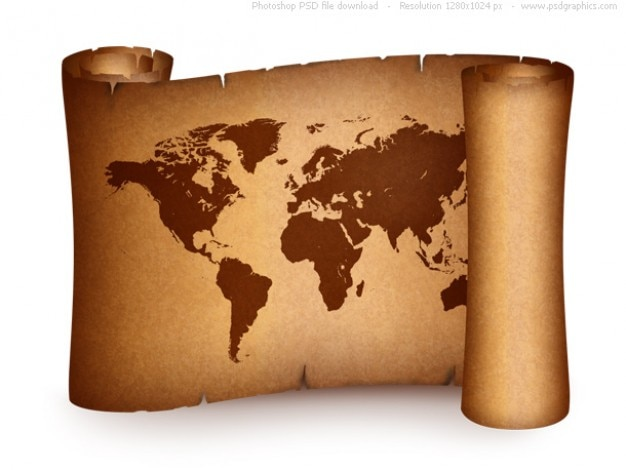 Old world map on vintage paper scroll | Free PSD File