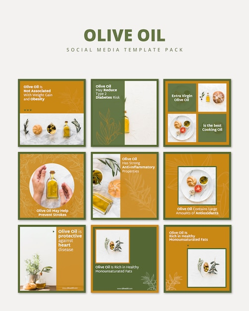 Olive oil social media template pack Free Psd