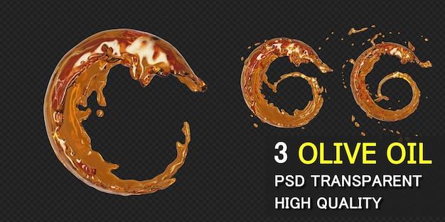 Оливковое масло всплеск круг круглая рамка в 3d-рендеринг изолированные Premium Psd