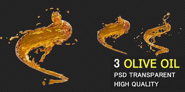 Всплеск оливкового масла с каплями в 3d-рендеринге Premium Psd