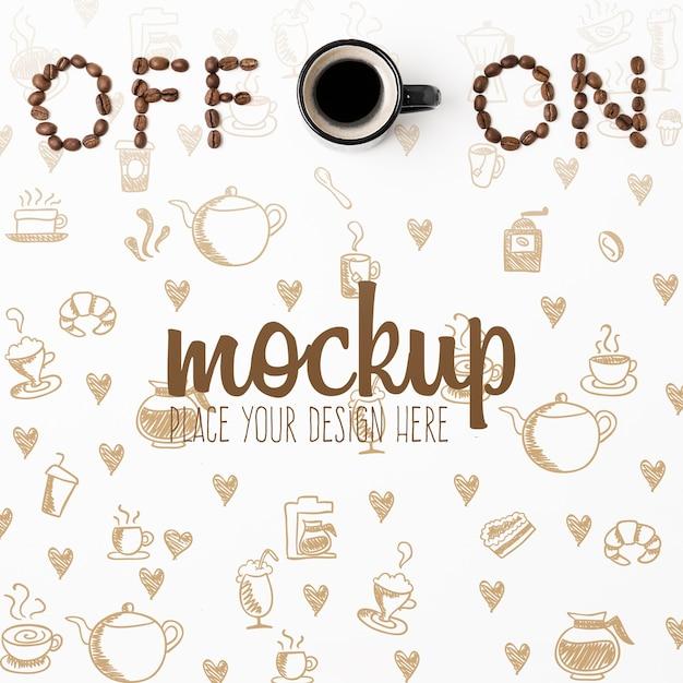 Включение и выключение концептуального макета кофе Бесплатные Psd