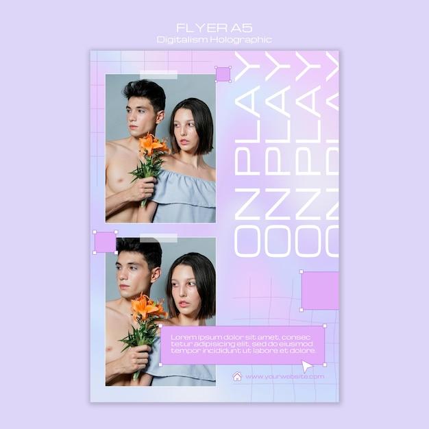 Шаблон голографического плаката on play digitalism Бесплатные Psd
