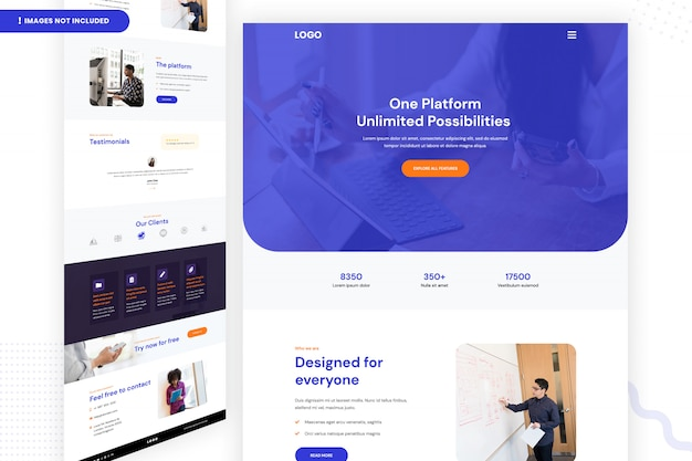One platform unlimited possibilities web page design Premium Psd