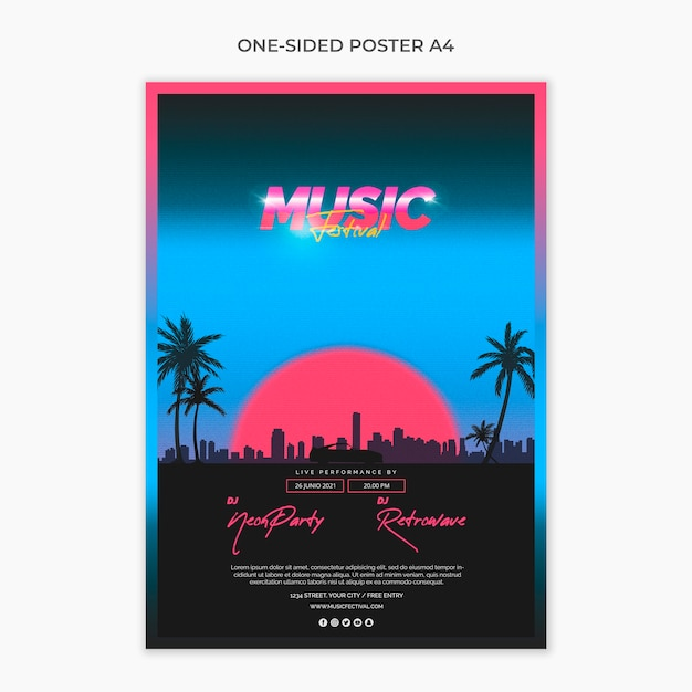One sided a4 poster template for 80s music festival Free Psd