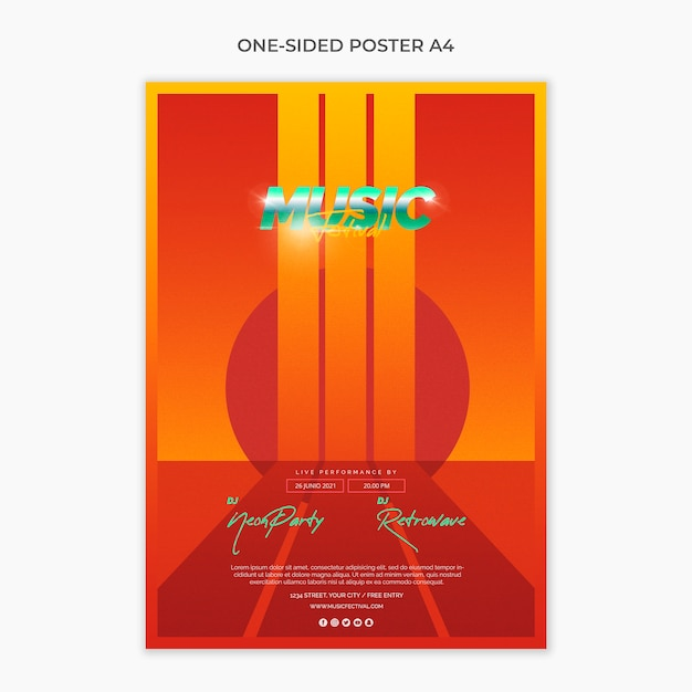One sided a4 poster template for 80s music festival PSD ...