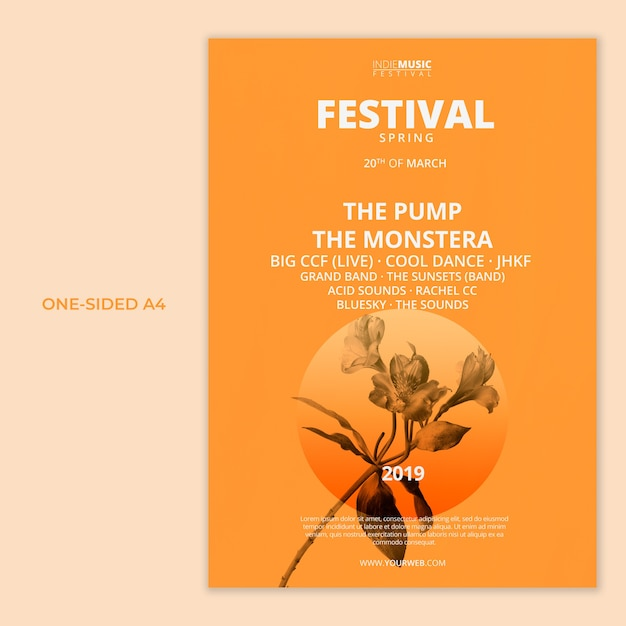 One sided a4 template with spring festival concept Free Psd