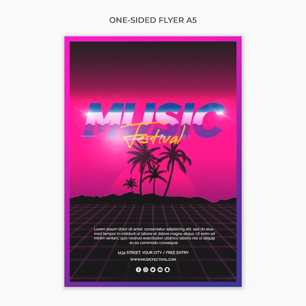 One sided a5 flyer for 80s music festival PSD file | Free Download