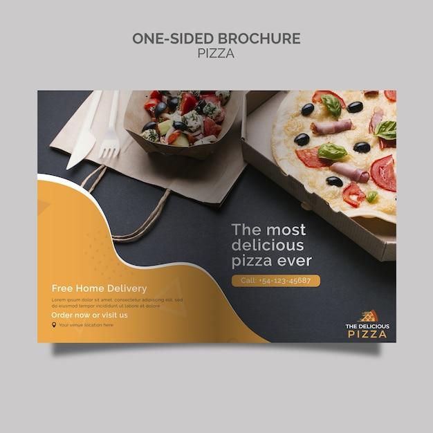 Brochure sulla pizza a una facciata Psd Gratuite