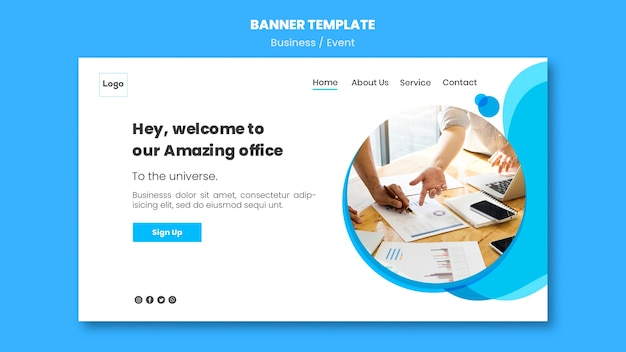 Online banner template for business conference Free Psd