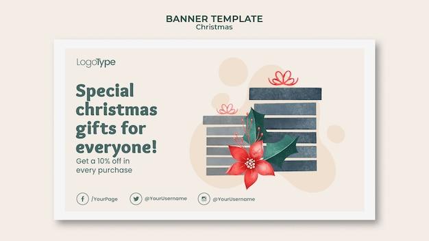 Шаблон баннера для рождественских покупок онлайн Бесплатные Psd