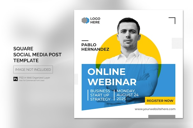 Online class program social media post or square banner template Premium Psd