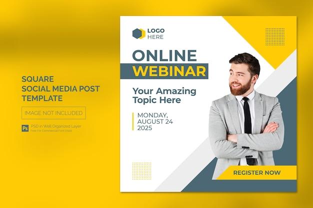 Online class program social media post or square banner template Premium Psd