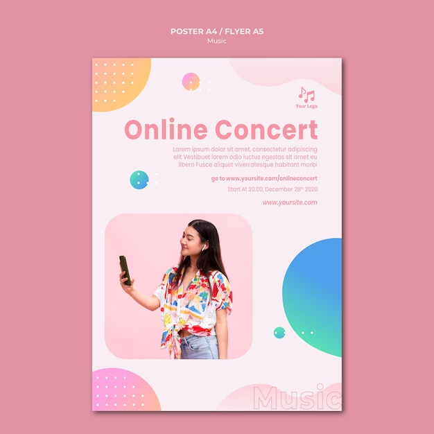 Online concert flyer stationery template Free Psd