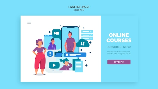 Шаблон целевой страницы онлайн-курсов Бесплатные Psd