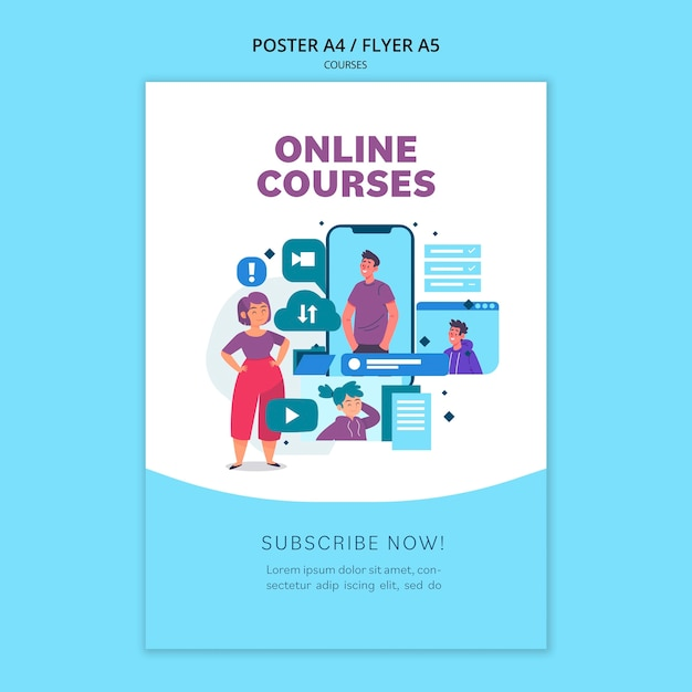 Online courses poster template Free Psd