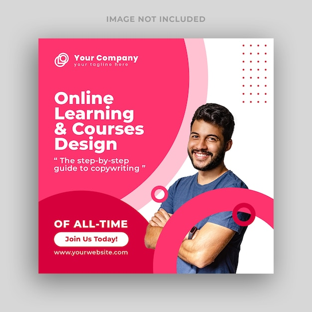 Online courses social media post or square banner template Premium Psd